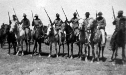 Africans, armed and mounted to serve as auxiliary cavalry with the 33rd Imperial Yeomanry during the Second Boer War. The use of units raised from the native population especially rankled the Boers.