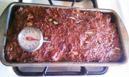 After baking time, check that the temperature is at least 165F. Drain the fat into a measuring cup.