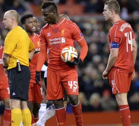 Mario Balotelli taking the ball off the captain Jordan Henderson to take the penalty in the Europa League game against Besiktas