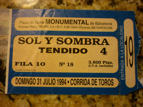 Stub from the bullfight July 31, 1994 in Barcelona, Spain