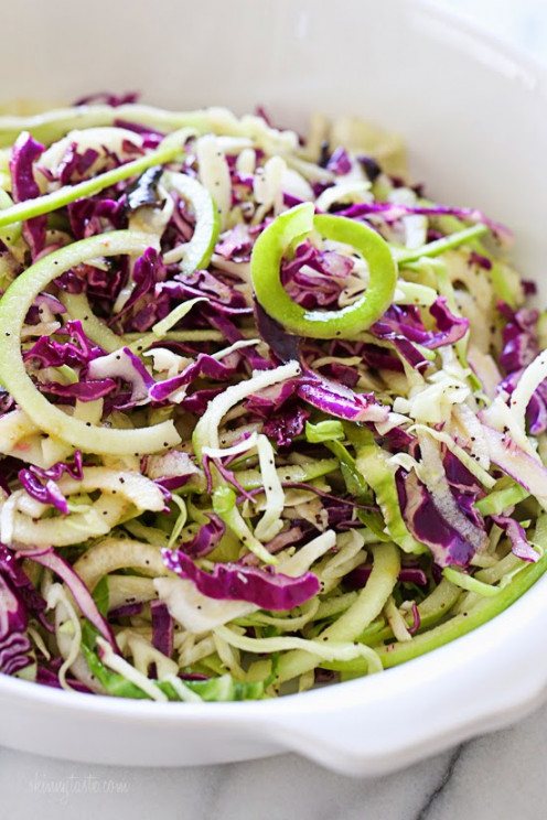 Spiralized apple and cabbage slaw.