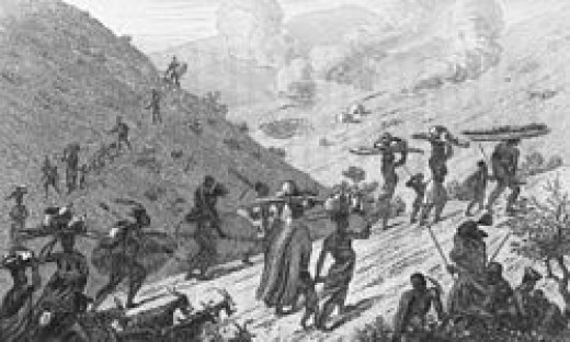 The Mfengu Trekking in 1840 Start Of The Difaqane/Mfecane(Calamity/Scatterings).  By the time of Shaka's murder in 1828, no group of people were living on their original lands.  Cannibalism had been rife over the vast area.   Adding to the historic a