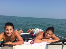 Summer fun boating  or should I say tanning on the boat