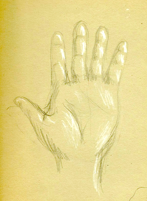 Self portrait of hand, age 12.
