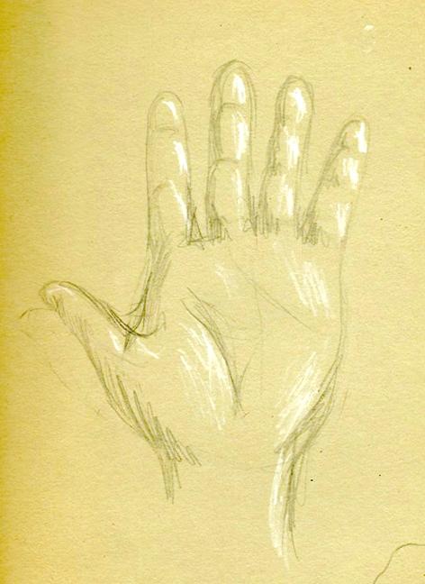 Self portrait of hand, age 12.