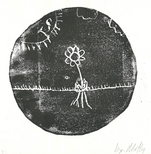 Printmaking, student age 10.