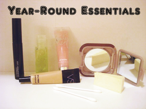 Makeup essentials: Mascara, hand sanitizer, concealer, lip gloss, mirror, cosmetic sponge, q-tips