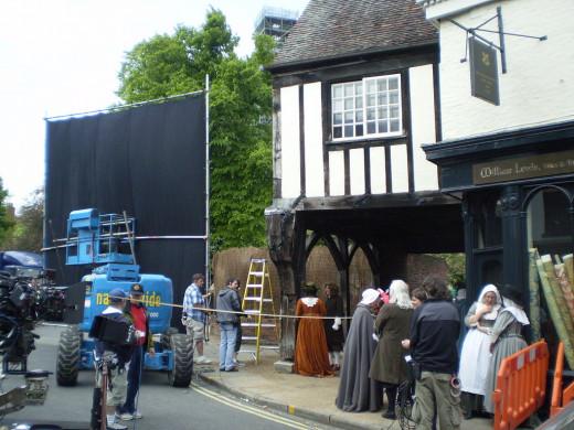 NBC crew in York, England, filming 'Crusoe'.