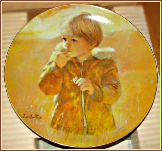 """Autumn Wanderer"" First issue in the ""Carefree Days Plate Collection"" trom an original painting by American artist Thornton Utz for Viletta China Company"
