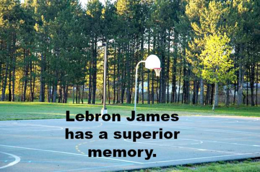 Basketball Court with Notation About Lebron James good memory.