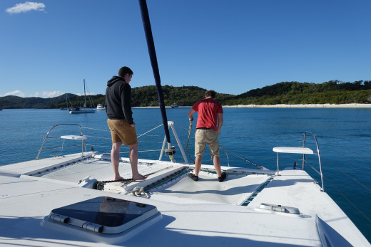 Anchoring at Whitehaven beach before going ashore.