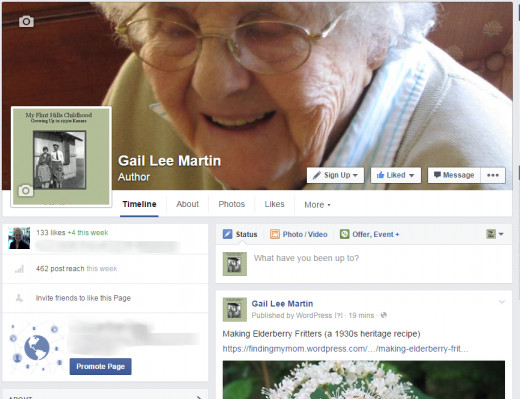 Click on the link to go to Gail's fan page on Facebook. When you join, you get notices of stories about Gail's life.