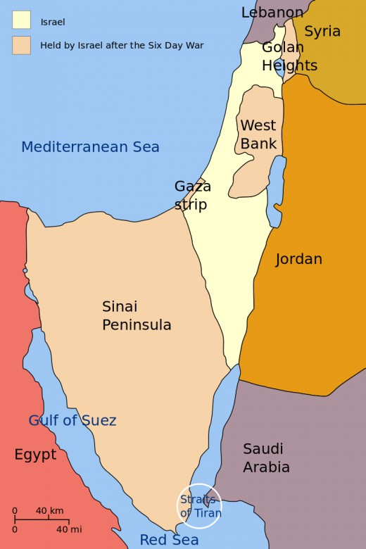 A map of territory conquered by Israel in June, 1967.