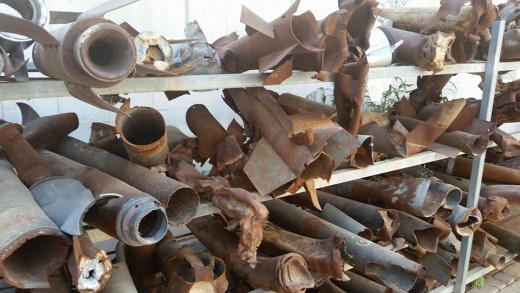 Spent rockets fired at Israeli civilians from the Gaza Strip.