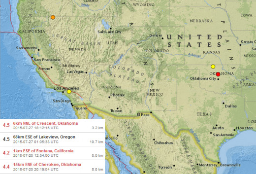 4.2-4.5 magnitude quakes in the continental USA during 20 July thru 27 July 2015.