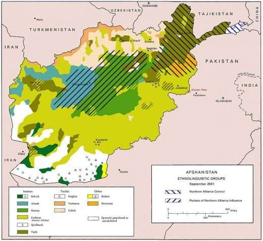 This map shows the cultural mix of the peoples in Afghanistan. In Kabul, the author saw Hazaras, Pastuns, Tajiks, Uzbeks, Sikhs, and Kuchis.