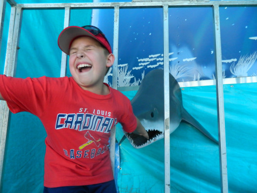 Caleb at the Shark Show, playing with one of the inhabitants. Personally I think this may not be as much fun for Caleb as for the shark.