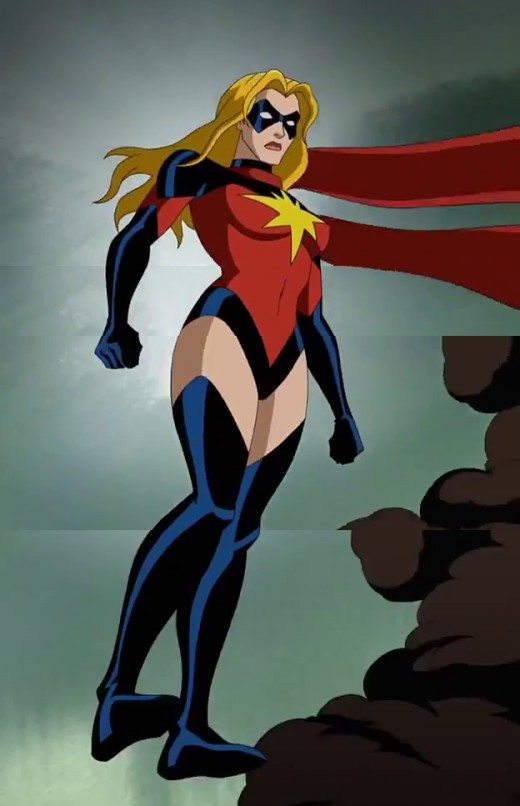 Ms. Marvel as she appears on the Avengers: Earth's Mightiest Heroes, wearing her red and black costume.
