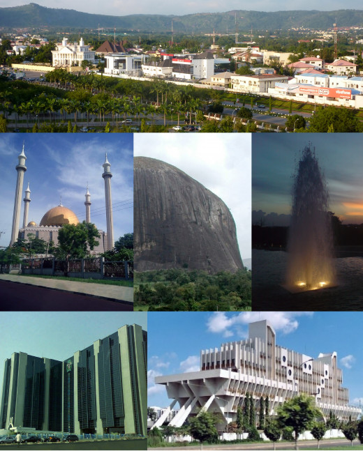 From top (L-R): View of a street in Wuse district,Abuja National Mosque, Zuma Rock, fountain in Millennium Park, Central Bank headquarters, and Defense Headquarters (Ship House)