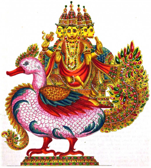 Brahma is the god of creation. After he created the first woman, he fell in love with her, but she hid herself from him. So Brahma grew three more heads so that he could see her from every angle.