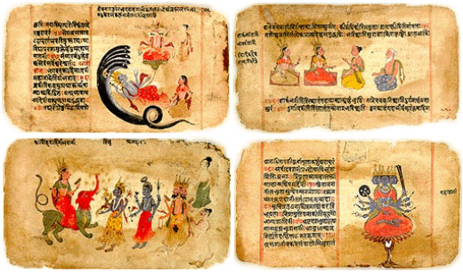 The four Vedas are the oldest Hindu scriptures of all. The oldest and best known, the Rig Veda, contains holy songs about the ancient gods of fire, earth, air and water.