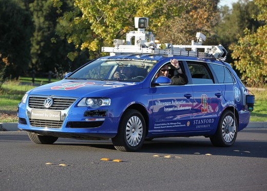 Junior, photographed in October 2009.  The vehicle is a self-driving Volkswagen Passat, developed at Stanford University.  On the roof are spinning LIDAR and cameras to gather the necessary environmental information.