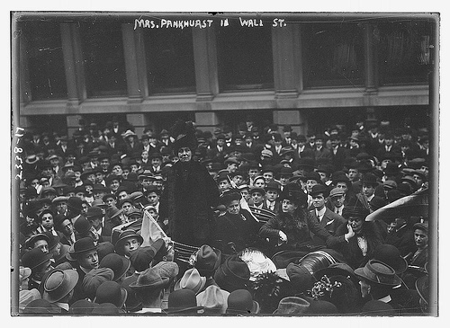Emmeline Pankhurst speaking to a crowd.