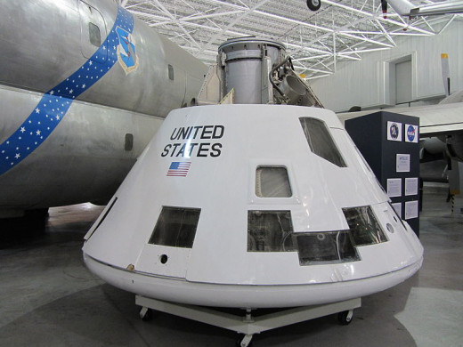 First unmanned flight of Saturn IB 1966, AS-202 CM-009 exhibited at the Strategic Air and Space Museum.