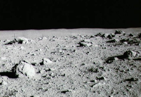 Rocks on the surface of the moon