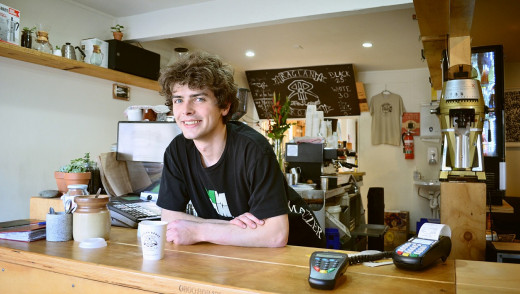 Student jobs, such as working as a barista, are often available at many colleges.
