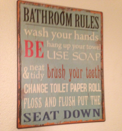 Ah, too many rules in this bathroom.  It's like living in a Communist country.  And I refuse to brush my teeth in a public restroom. Although I might give my teeth a quick floss.