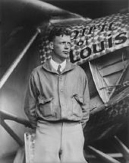 Charles Lindbergh with his plane, The Spirit of St. Louis  1927