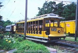 Open trolley at Seashore Trolley Museum