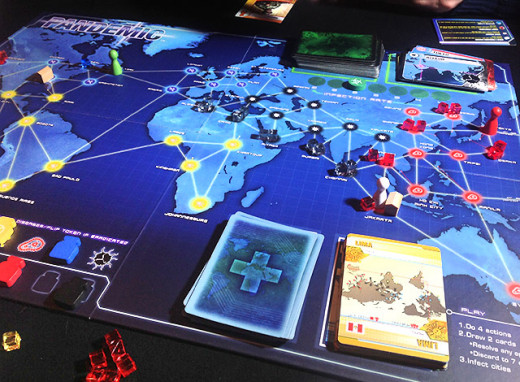 A game of Pandemic in progress.