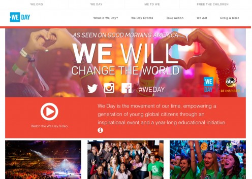 Screenshot of the We Day website