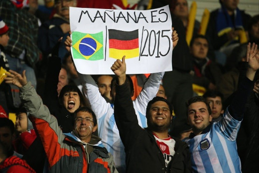 Argentine fans mock the Brazilians with the date 1st of July of 2015 (01/07/2015) during the 2015 Copa América