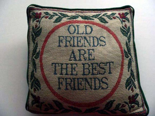 A captioned pillow