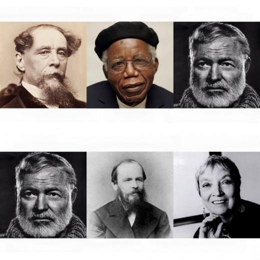 Left to right: Charles Dickens, Chinua Achibe, Ernest Hemingway, Ernest Hemingway (again), Fyodor Dostoyevsky, Madeleine L'Engle.