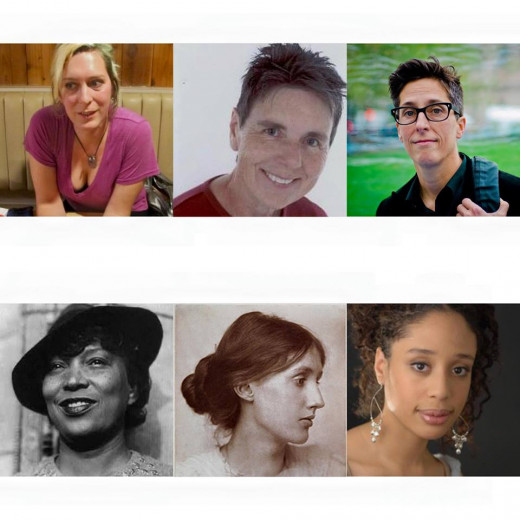 From left to right: Imogen Binnie, Julie Ann Peters, Alison Bechdel, Zora Neale Hurston, Virginia Woolf, Alaya Dawn Johnson.