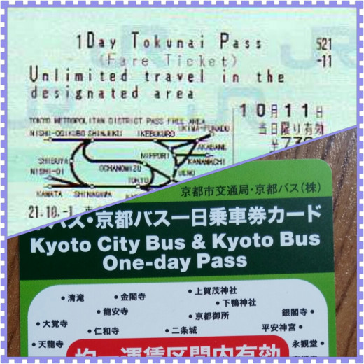 These are the two passes we used when we visited Tokyo and Kyoto. The Tokunai Pass (not our own photo) which allows easy access to major sights in Tokyo and the Kyoto One-day Bus Pass which is very helpful in accessing all major temples.