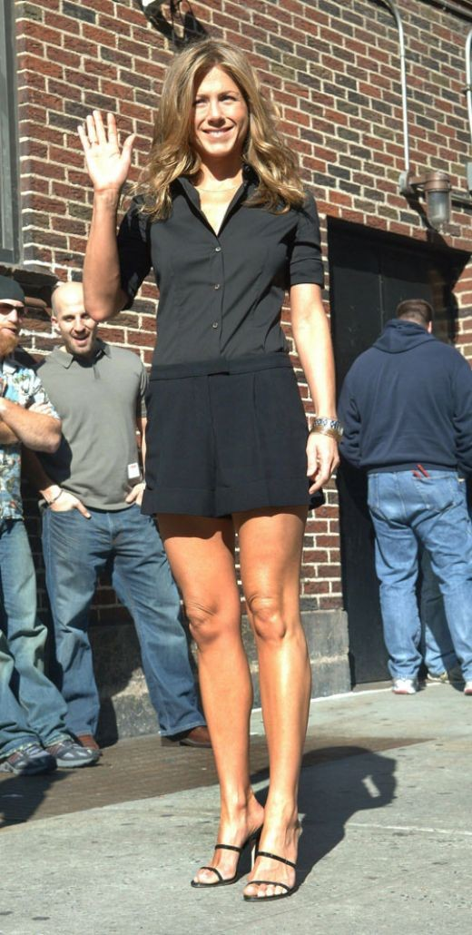 Jennifer Aniston making an appearance on the Late Show in shorts and high heels