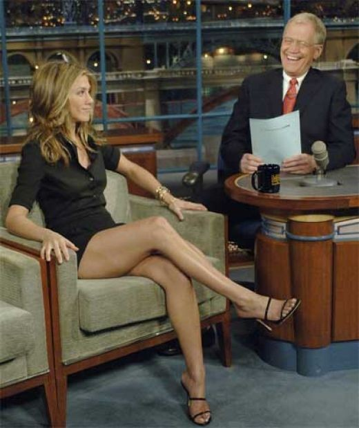 Jennifer Aniston's legs in high heels on the Late Show