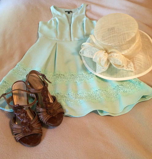 Light blue dress from Express ($30) paired with neutral hat by Hatsational and brown sandal pumps by Kenneth Cole Reaction.
