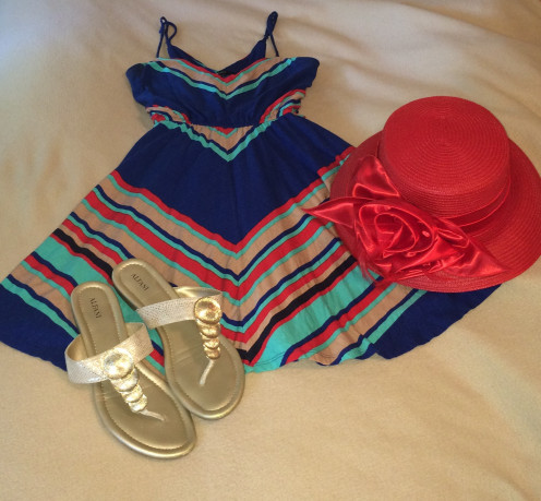 Striped Dress from Forever21 paired with Big Red and Alfani sandals in gold ($24.99).