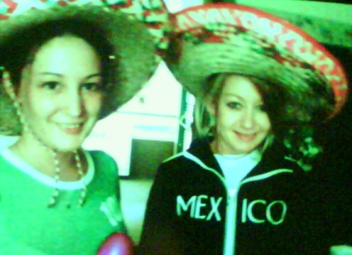 My BFF and me. I am 10 years older than her, she is 23 and I am 33. We look like kids in this picture dressed up for cinco de mio at work