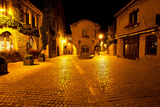 The Cobbed Streets of Carcassonne at Night