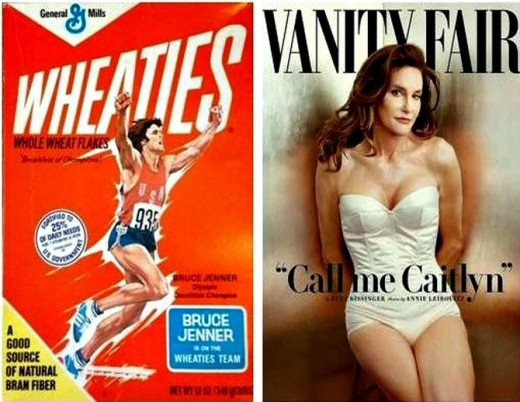 Bruce Jenner on Wheaties Box in 1976 and as Caitlyn Jenner on Vanity Fair  in 2015