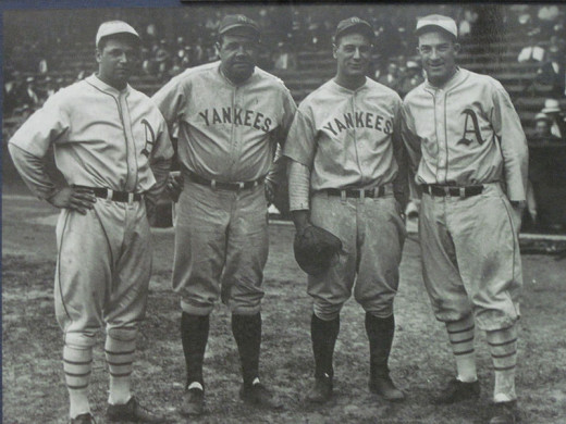 Baseball history is one of my favorite subjects and is the focus of my blog Shoestring Catches. This photo features National Baseball Hall of Fame members from L to R, Jimmy Foxx, Babe Ruth, Lou Gehrig and Mickey Cochrane.