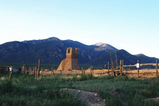 Early Spanish ruins beneath the Sangre de Cristo Mountains