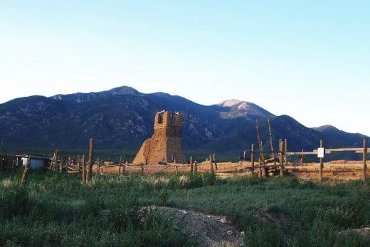 Early Spanish ruins beneath the Sangre de Cristo Mountains